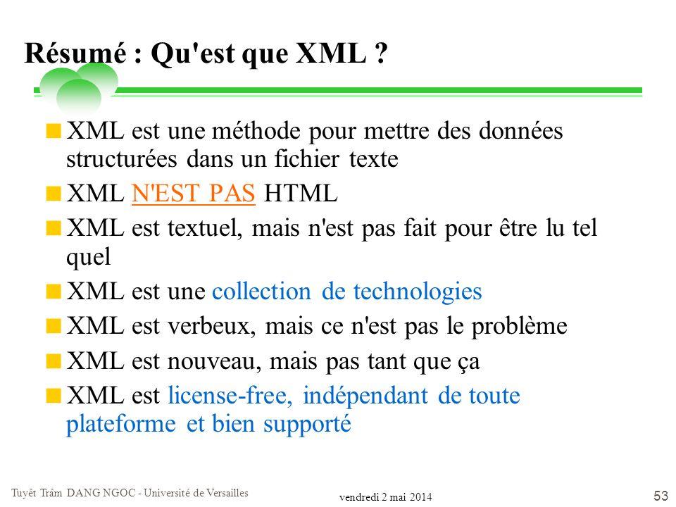 vendredi 2 mai 2014 Tuyêt Trâm DANG NGOC - Université de Versailles 53 Résumé : Qu'est que XML ? XML est une méthode pour mettre des données structuré