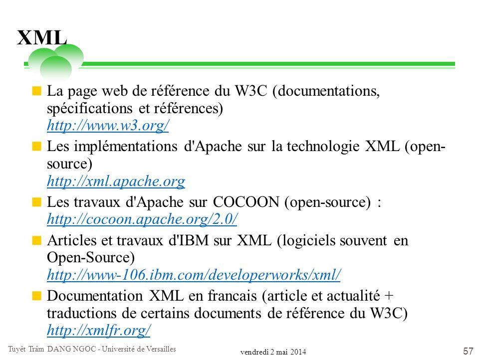 vendredi 2 mai 2014 Tuyêt Trâm DANG NGOC - Université de Versailles 57 XML La page web de référence du W3C (documentations, spécifications et référenc
