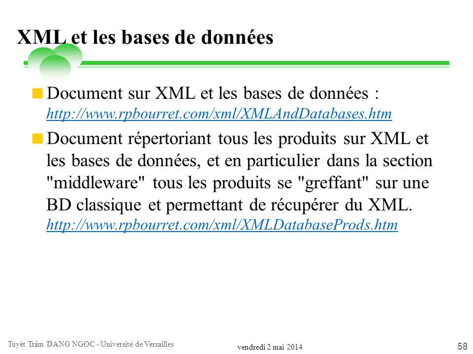vendredi 2 mai 2014 Tuyêt Trâm DANG NGOC - Université de Versailles 58 XML et les bases de données Document sur XML et les bases de données : http://w