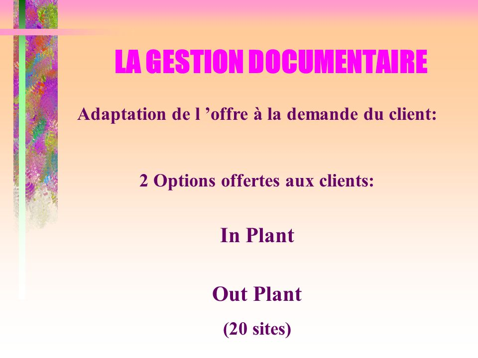 LA GESTION DOCUMENTAIRE Adaptation de l offre à la demande du client: 2 Options offertes aux clients: In Plant Out Plant (20 sites)