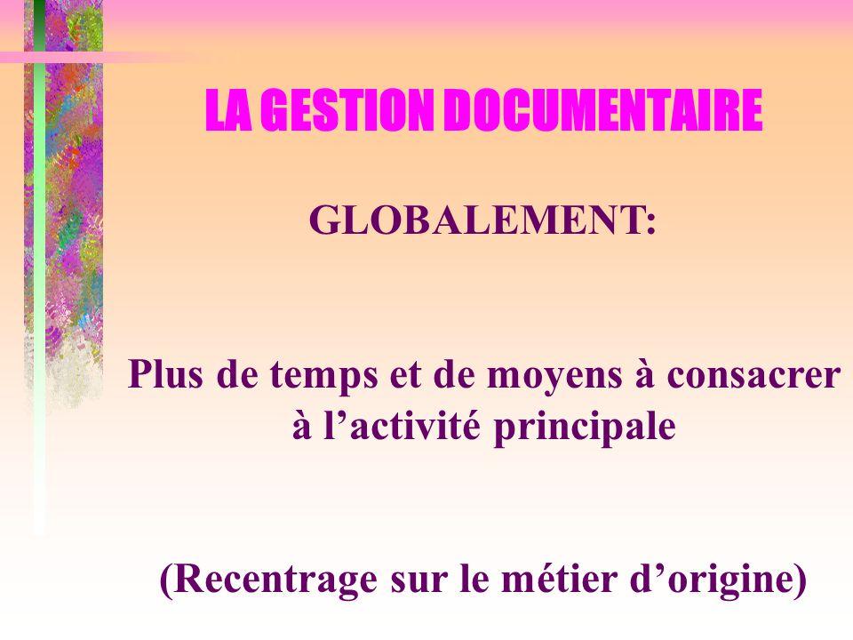 LA GESTION DOCUMENTAIRE GLOBALEMENT: Plus de temps et de moyens à consacrer à lactivité principale (Recentrage sur le métier dorigine)