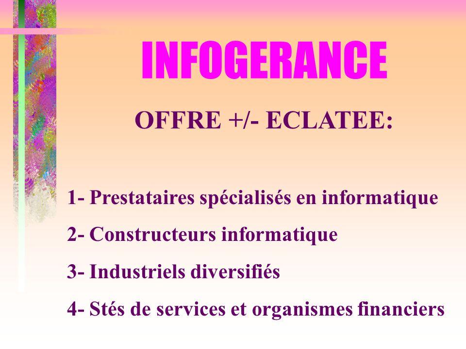 INFOGERANCE OFFRE +/- ECLATEE: 1- Prestataires spécialisés en informatique 2- Constructeurs informatique 3- Industriels diversifiés 4- Stés de service
