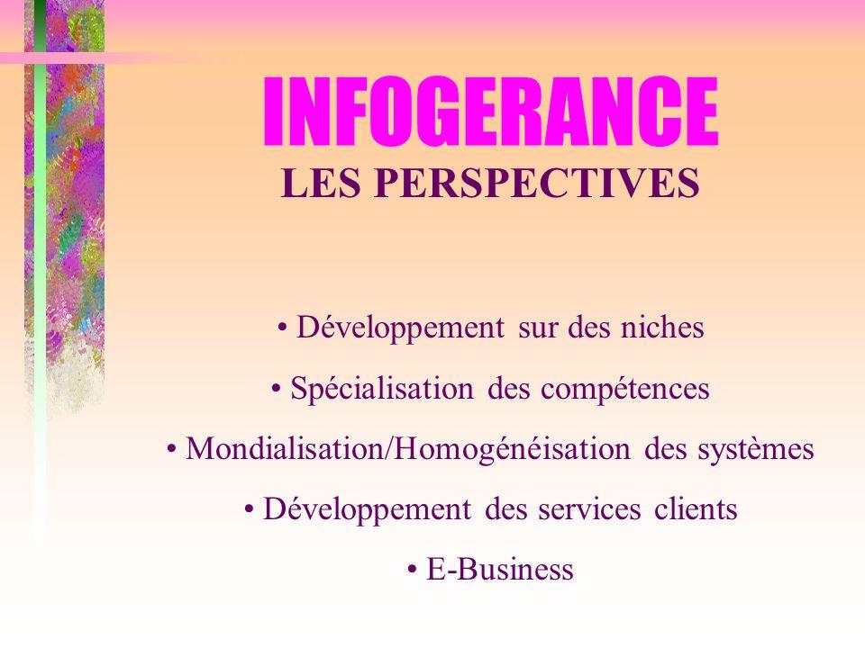INFOGERANCE LES PERSPECTIVES Développement sur des niches Spécialisation des compétences Mondialisation/Homogénéisation des systèmes Développement des