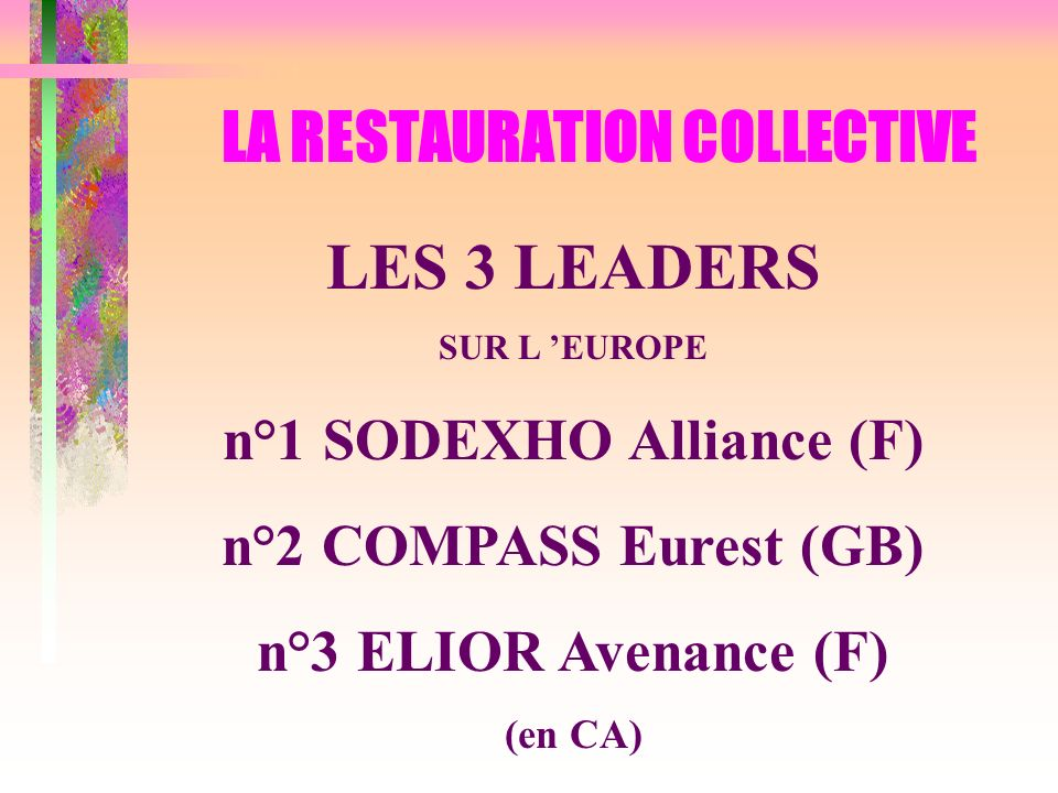 LES 3 LEADERS SUR L EUROPE n°1 SODEXHO Alliance (F) n°2 COMPASS Eurest (GB) n°3 ELIOR Avenance (F) (en CA) LA RESTAURATION COLLECTIVE