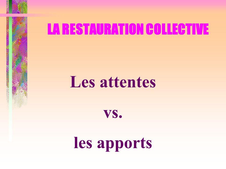LA RESTAURATION COLLECTIVE Les attentes vs. les apports
