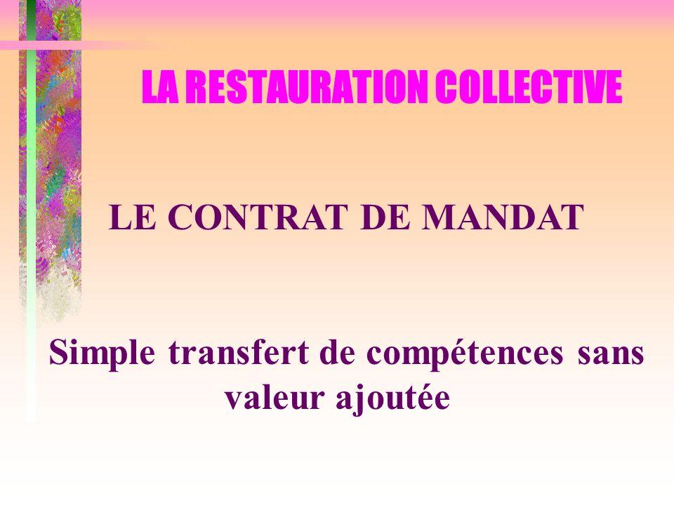 LA RESTAURATION COLLECTIVE LE CONTRAT DE MANDAT Simple transfert de compétences sans valeur ajoutée