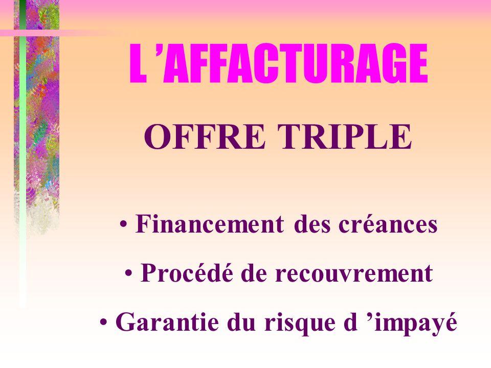 L AFFACTURAGE OFFRE TRIPLE Financement des créances Procédé de recouvrement Garantie du risque d impayé
