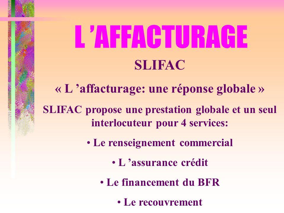 L AFFACTURAGE SLIFAC « L affacturage: une réponse globale » SLIFAC propose une prestation globale et un seul interlocuteur pour 4 services: Le renseig