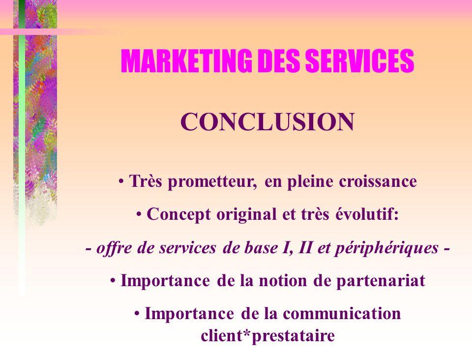MARKETING DES SERVICES CONCLUSION Très prometteur, en pleine croissance Concept original et très évolutif: - offre de services de base I, II et périph