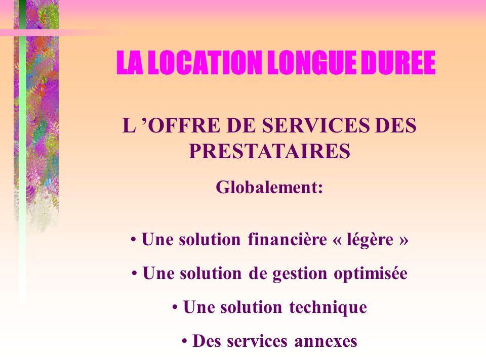 LA LOCATION LONGUE DUREE L OFFRE DE SERVICES DES PRESTATAIRES Globalement: Une solution financière « légère » Une solution de gestion optimisée Une so