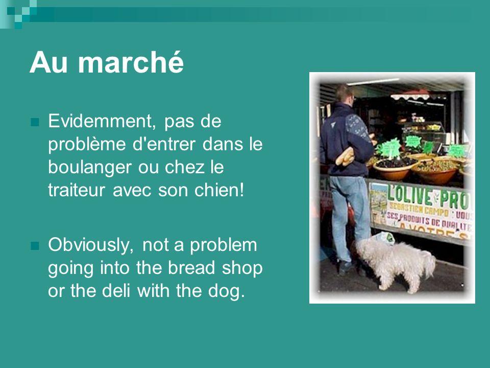 Au marché Evidemment, pas de problème d entrer dans le boulanger ou chez le traiteur avec son chien.