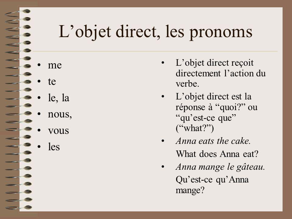 Lobjet direct, les pronoms me te le, la nous, vous les Lobjet direct reçoit directement laction du verbe. Lobjet direct est la réponse à quoi? ou ques
