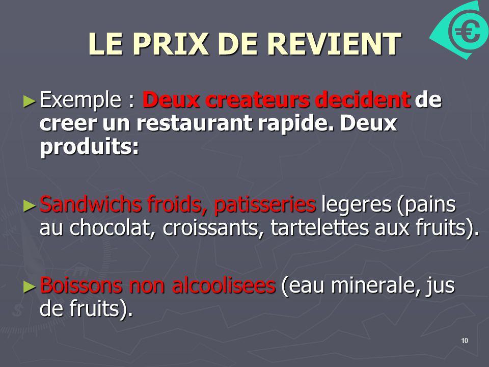 10 LE PRIX DE REVIENT Exemple : Deux createurs decident de creer un restaurant rapide. Deux produits: Exemple : Deux createurs decident de creer un re