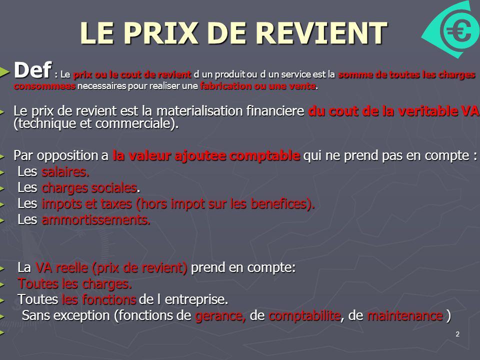 2 LE PRIX DE REVIENT Def : Le prix ou le cout de revient d un produit ou d un service est la somme de toutes les charges consommees necessaires pour r