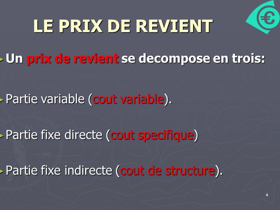 4 LE PRIX DE REVIENT Un prix de revient se decompose en trois: Un prix de revient se decompose en trois: Partie variable (cout variable). Partie varia