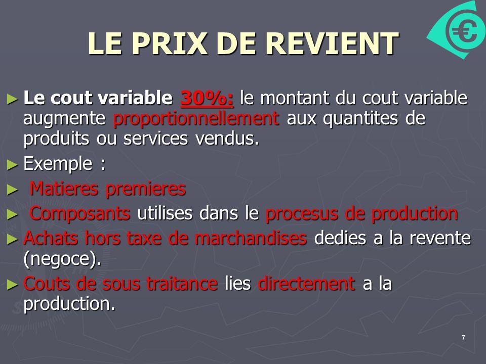 7 LE PRIX DE REVIENT Le cout variable 30%: le montant du cout variable augmente proportionnellement aux quantites de produits ou services vendus. Le c