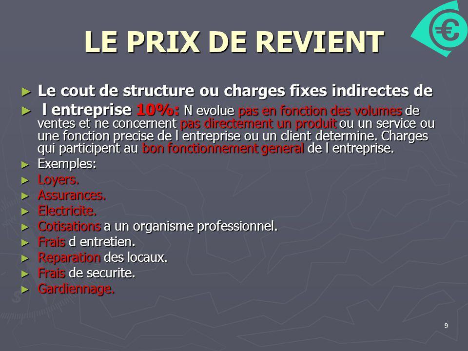 9 LE PRIX DE REVIENT Le cout de structure ou charges fixes indirectes de Le cout de structure ou charges fixes indirectes de l entreprise 10%: N evolu