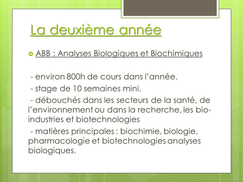 La deuxième année ABB : Analyses Biologiques et Biochimiques - environ 800h de cours dans lannée.