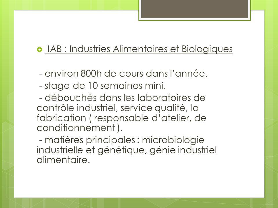 IAB : Industries Alimentaires et Biologiques - environ 800h de cours dans lannée.