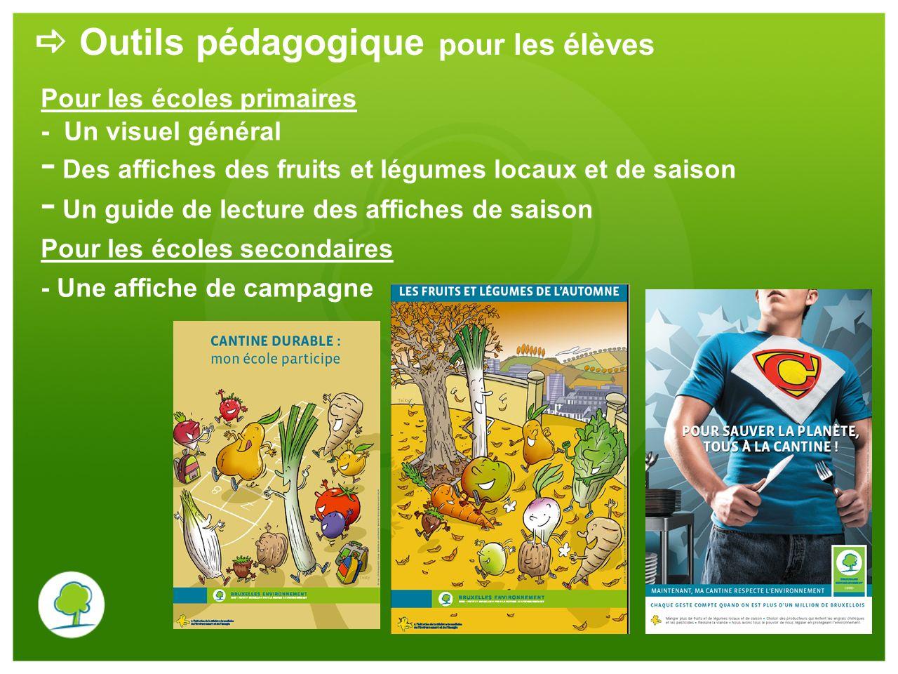 Outils pédagogique pour les élèves Pour les écoles primaires - Un visuel général - Des affiches des fruits et légumes locaux et de saison - Un guide d