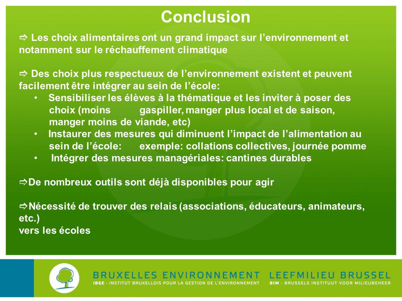 Conclusion Les choix alimentaires ont un grand impact sur lenvironnement et notamment sur le réchauffement climatique Des choix plus respectueux de le