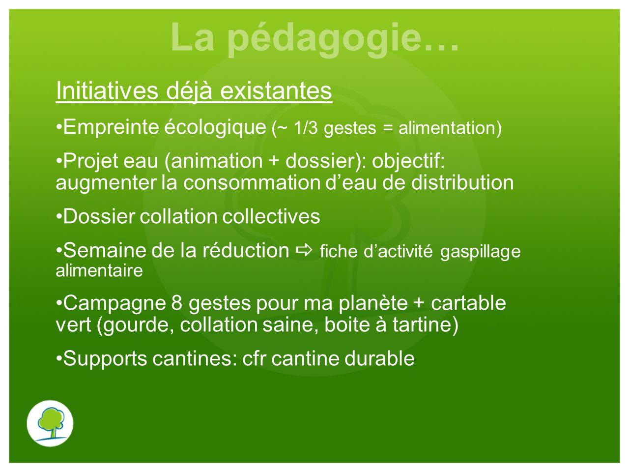 La pédagogie… Initiatives déjà existantes Empreinte écologique (~ 1/3 gestes = alimentation) Projet eau (animation + dossier): objectif: augmenter la