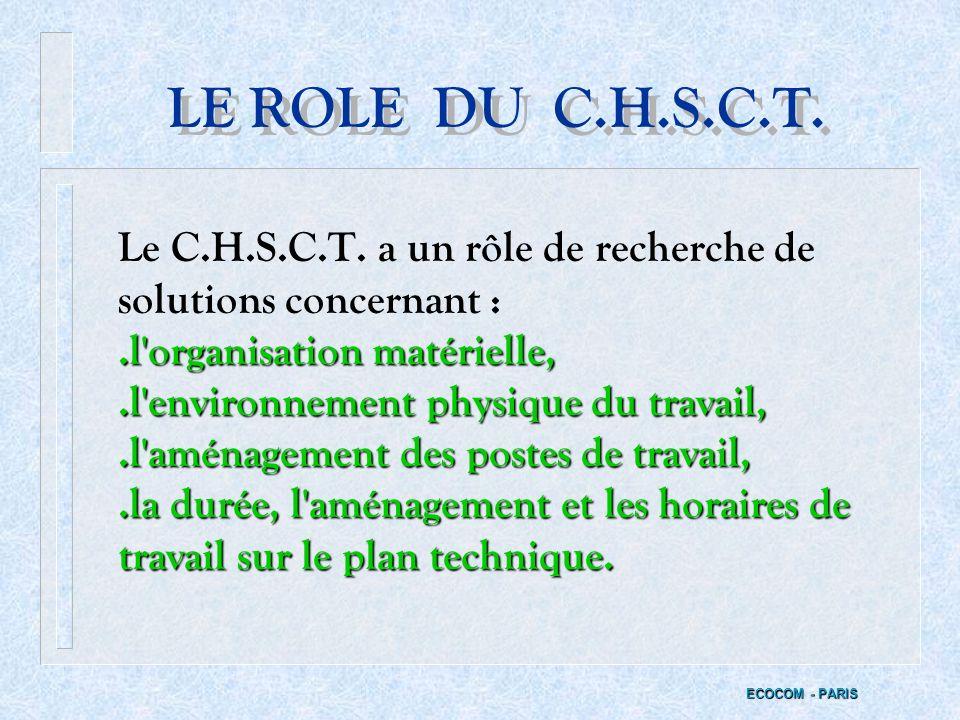 II - LE RÔLE DU C.H.S.C.T. ECOCOM - PARIS