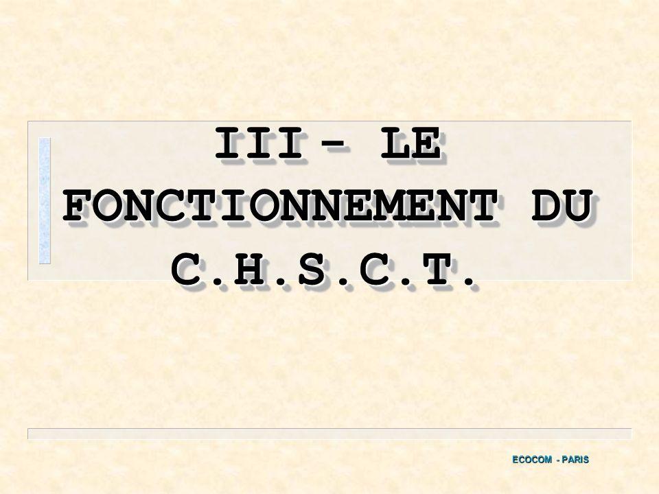 n Le C.H.S.C.T. est une institution représentative du personnel à part entière et son intervention doit se coordonner et se concilier de façon cohéren
