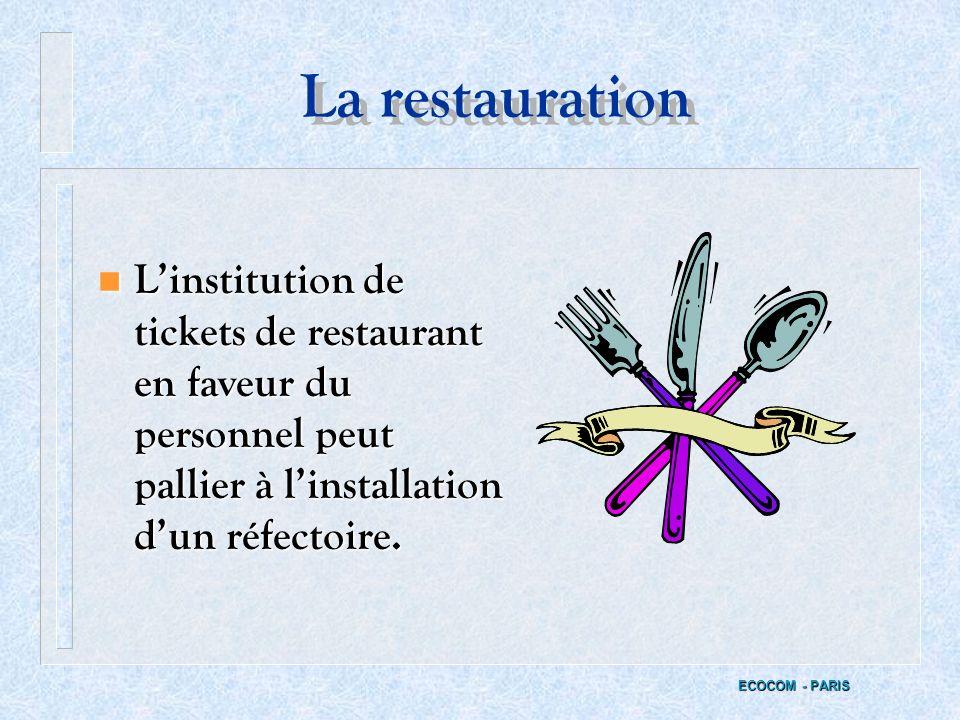 LES PRESTATIONS DE LENTREPRISE n Lorsque 25 salariés désirent prendre leur repas, lemployeur doit mettre un local de restauration équipé à la disposit
