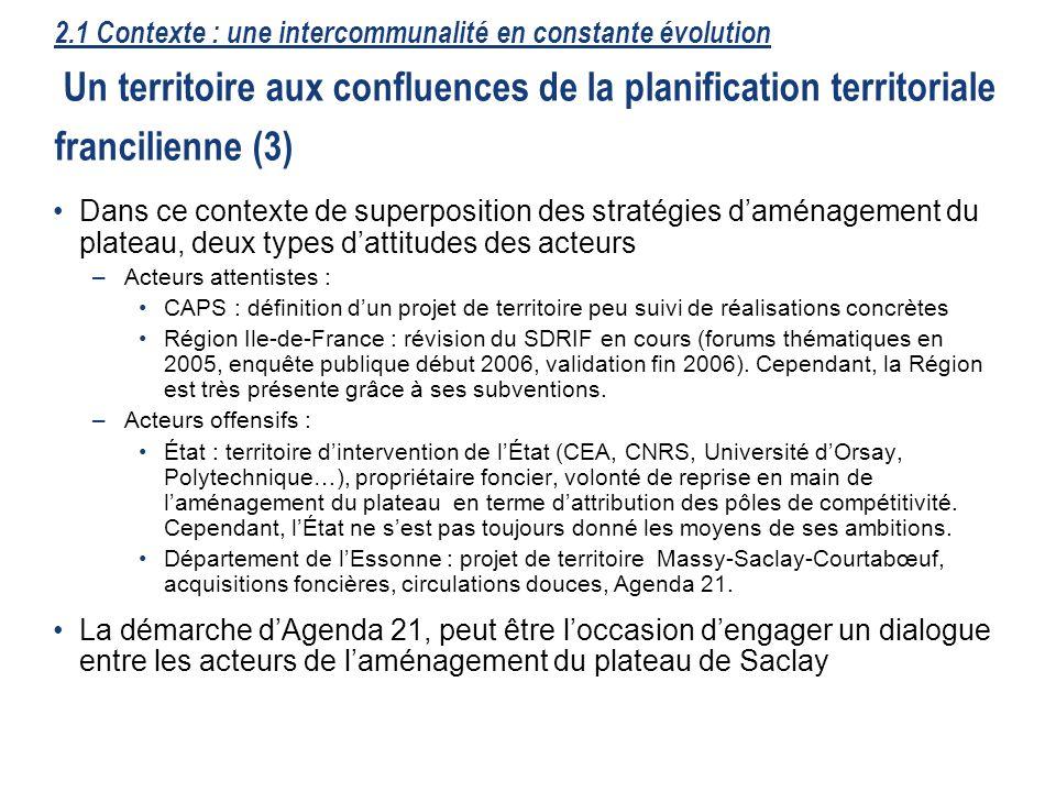 18 Dans ce contexte de superposition des stratégies daménagement du plateau, deux types dattitudes des acteurs –Acteurs attentistes : CAPS : définitio
