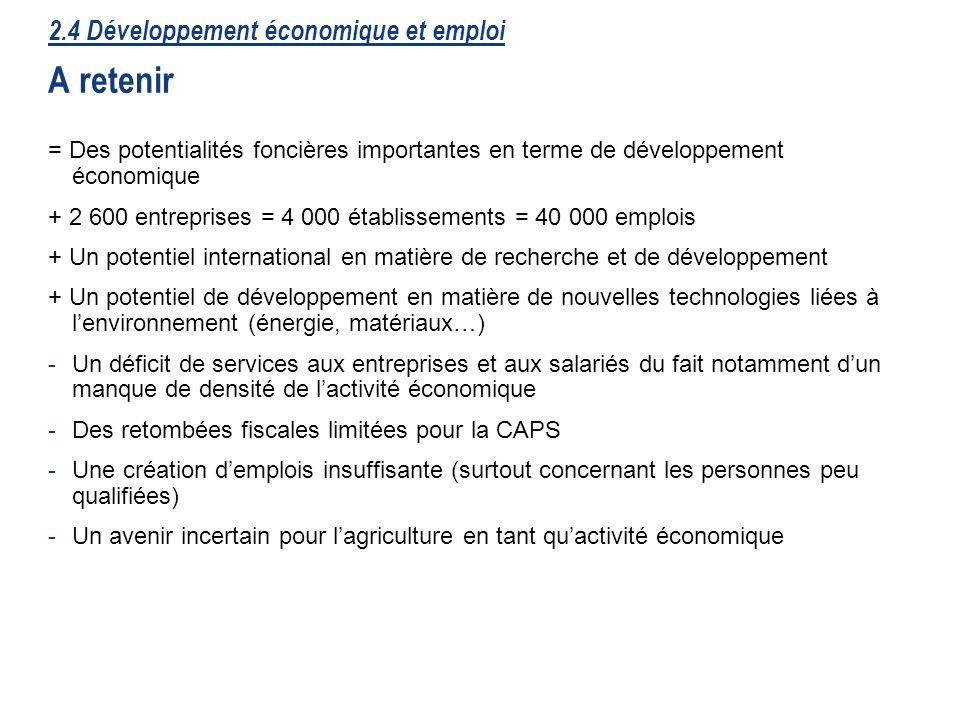 33 2.4 Développement économique et emploi A retenir = Des potentialités foncières importantes en terme de développement économique + 2 600 entreprises