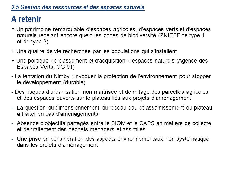 38 2.5 Gestion des ressources et des espaces naturels A retenir = Un patrimoine remarquable despaces agricoles, despaces verts et despaces naturels re