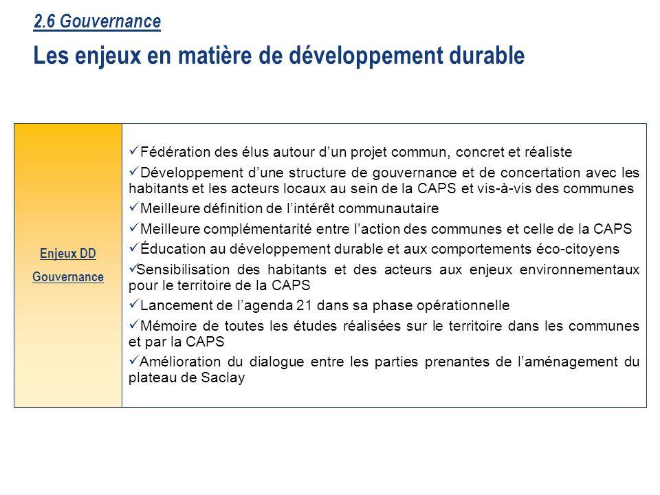 49 2.6 Gouvernance Les enjeux en matière de développement durable Fédération des élus autour dun projet commun, concret et réaliste Développement dune