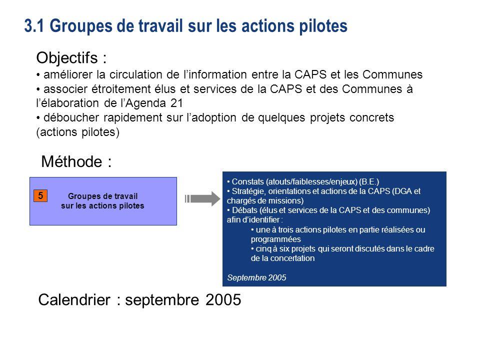 51 3.1 Groupes de travail sur les actions pilotes Groupes de travail sur les actions pilotes 5 Constats (atouts/faiblesses/enjeux) (B.E.) Stratégie, orientations et actions de la CAPS (DGA et chargés de missions) Débats (élus et services de la CAPS et des communes) afin didentifier : une à trois actions pilotes en partie réalisées ou programmées cinq à six projets qui seront discutés dans le cadre de la concertation Septembre 2005 Objectifs : améliorer la circulation de linformation entre la CAPS et les Communes associer étroitement élus et services de la CAPS et des Communes à lélaboration de lAgenda 21 déboucher rapidement sur ladoption de quelques projets concrets (actions pilotes) Objectifs : améliorer la circulation de linformation entre la CAPS et les Communes associer étroitement élus et services de la CAPS et des Communes à lélaboration de lAgenda 21 déboucher rapidement sur ladoption de quelques projets concrets (actions pilotes) Méthode : Calendrier : septembre 2005