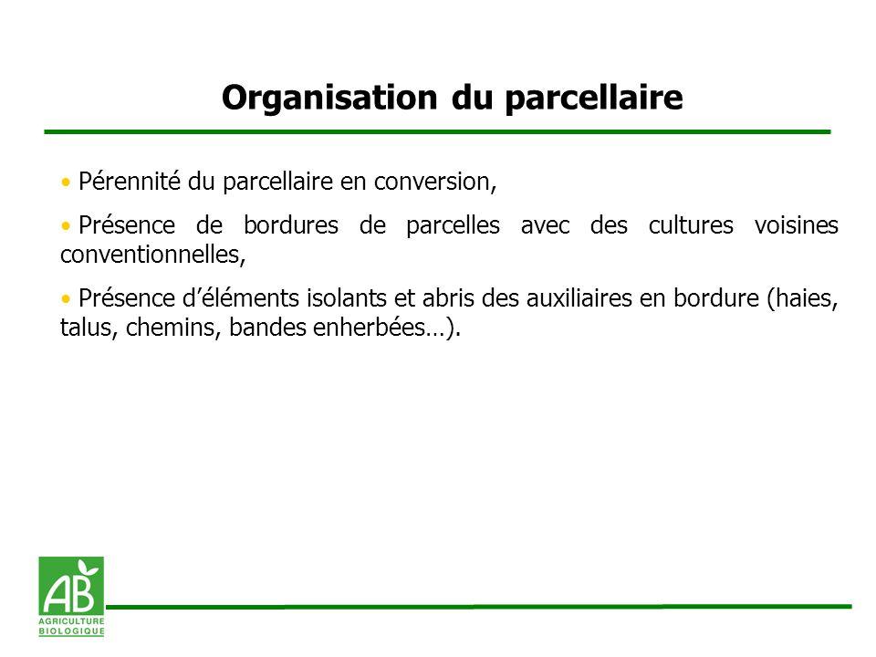 Organisation du parcellaire Pérennité du parcellaire en conversion, Présence de bordures de parcelles avec des cultures voisines conventionnelles, Pré