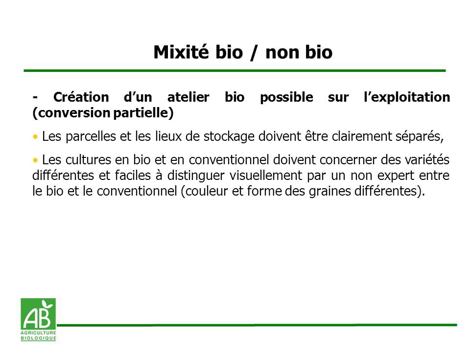 Mixité bio / non bio - Création dun atelier bio possible sur lexploitation (conversion partielle) Les parcelles et les lieux de stockage doivent être