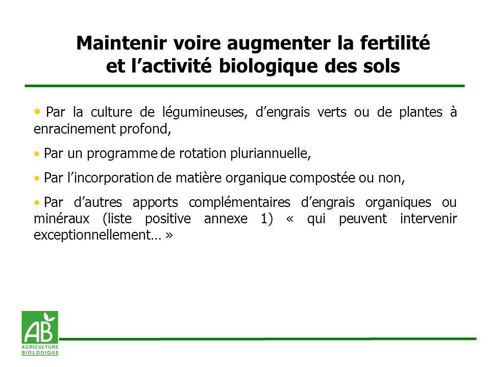 Maintenir voire augmenter la fertilité et lactivité biologique des sols Par la culture de légumineuses, dengrais verts ou de plantes à enracinement pr