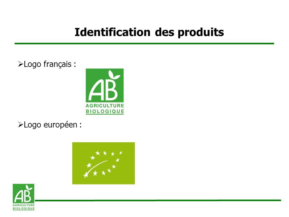 Identification des produits Logo français : Logo européen :