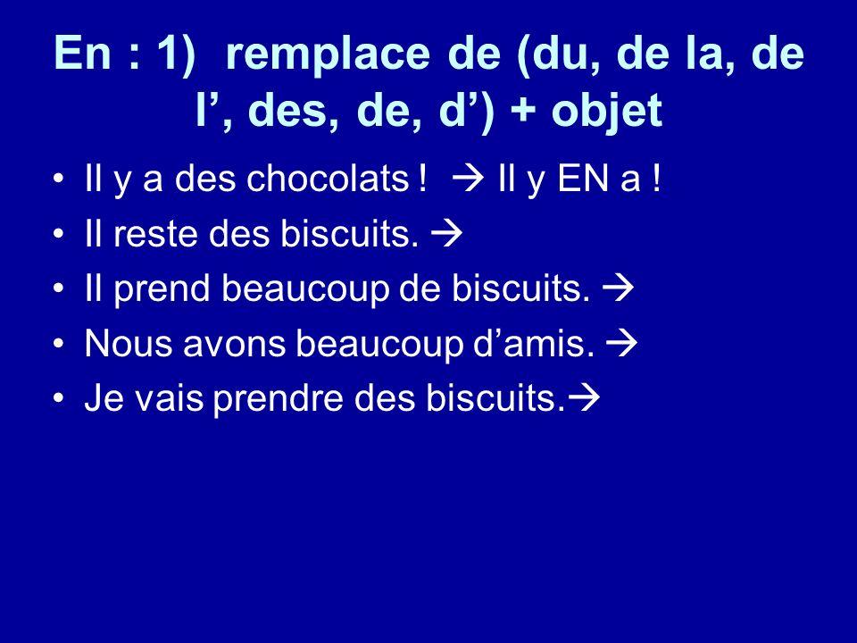 En : 1) remplace de (du, de la, de l, des, de, d) + objet Il y a des chocolats .