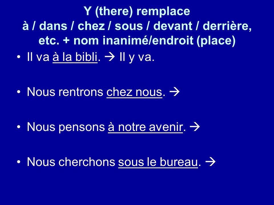 Y (there) remplace à / dans / chez / sous / devant / derrière, etc.