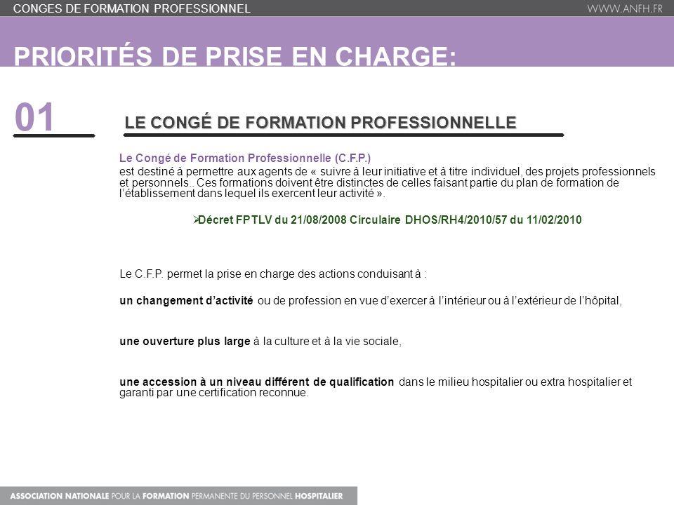 PRIORITÉS DE PRISE EN CHARGE: CONGES DE FORMATION PROFESSIONNEL 01 LE CONGÉ DE FORMATION PROFESSIONNELLE Le Congé de Formation Professionnelle (C.F.P.