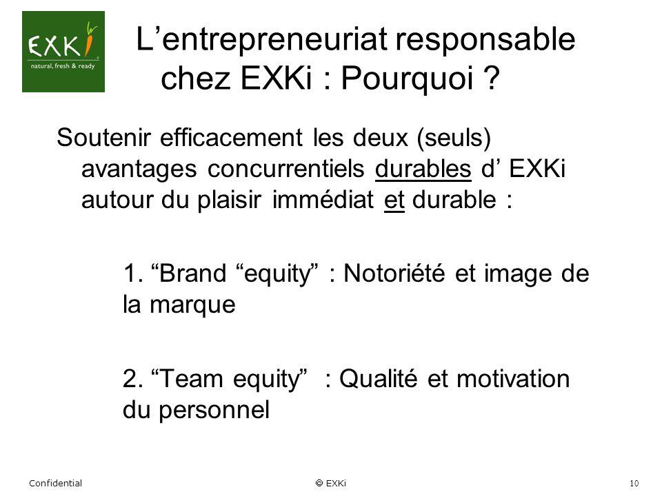 Confidential EXKi 10 Lentrepreneuriat responsable chez EXKi : Pourquoi ? Soutenir efficacement les deux (seuls) avantages concurrentiels durables d EX