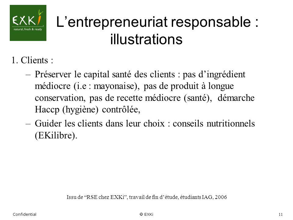 Confidential EXKi 11 Lentrepreneuriat responsable : illustrations 1. Clients : –Préserver le capital santé des clients : pas dingrédient médiocre (i.e