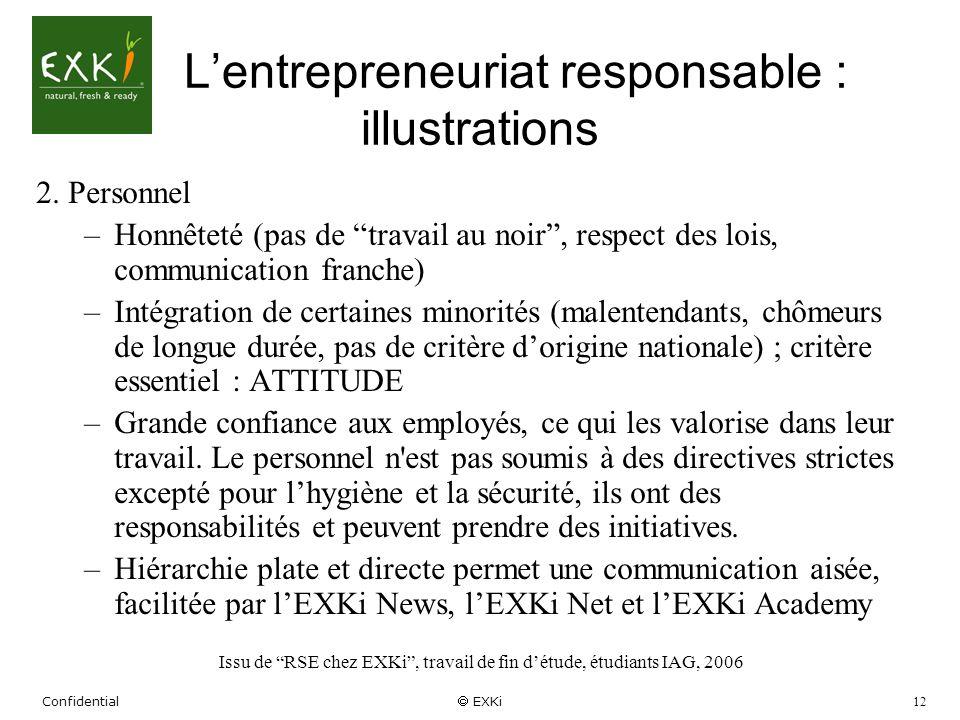 Confidential EXKi 12 Lentrepreneuriat responsable : illustrations 2. Personnel –Honnêteté (pas de travail au noir, respect des lois, communication fra