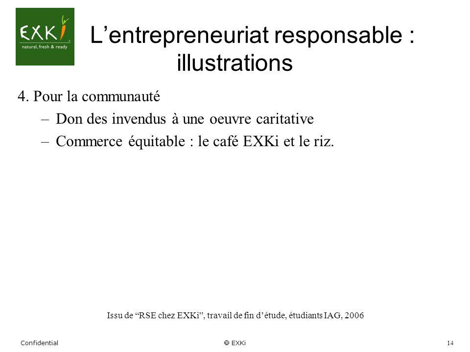 Confidential EXKi 14 Lentrepreneuriat responsable : illustrations 4. Pour la communauté –Don des invendus à une oeuvre caritative –Commerce équitable