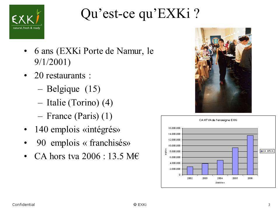 Confidential EXKi 3 Quest-ce quEXKi ? 6 ans (EXKi Porte de Namur, le 9/1/2001) 20 restaurants : –Belgique (15) –Italie (Torino) (4) –France (Paris) (1