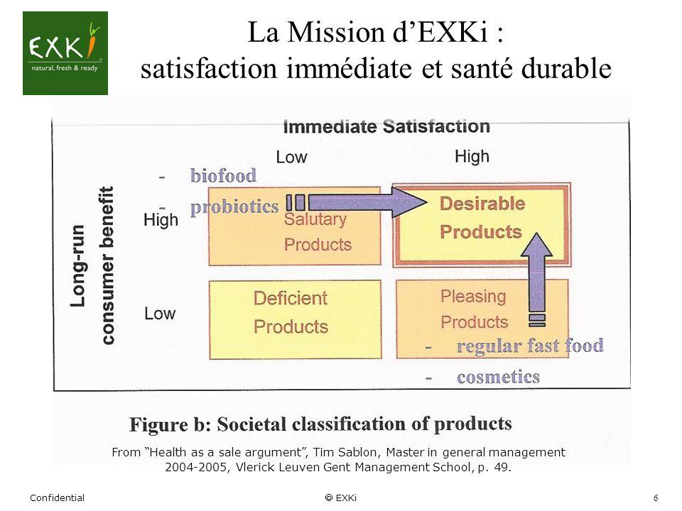 Confidential EXKi 6 La Mission dEXKi : satisfaction immédiate et santé durable From Health as a sale argument, Tim Sablon, Master in general managemen