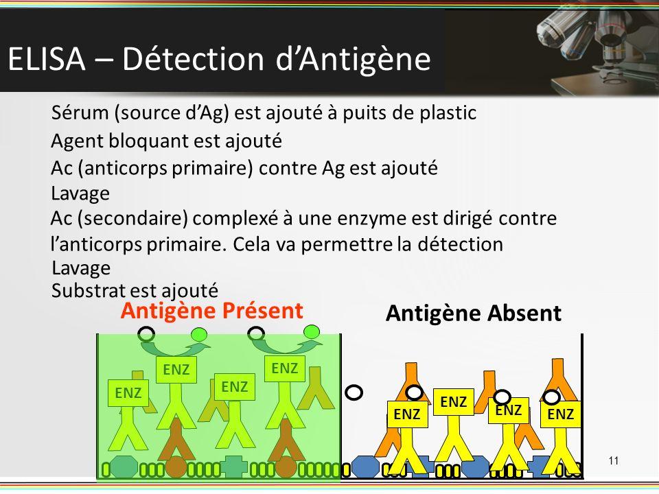 ELISA – Détection dAntigène 11 Sérum (source dAg) est ajouté à puits de plastic Antigène Présent Antigène Absent Agent bloquant est ajouté Ac (anticor