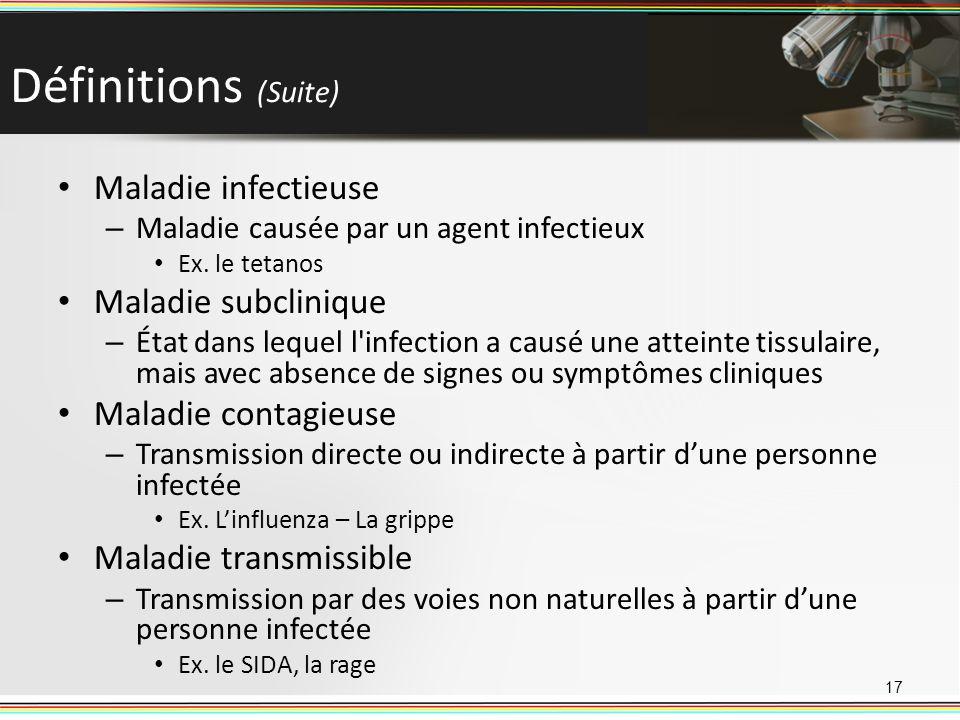 Définitions (Suite) Maladie infectieuse – Maladie causée par un agent infectieux Ex. le tetanos Maladie subclinique – État dans lequel l'infection a c