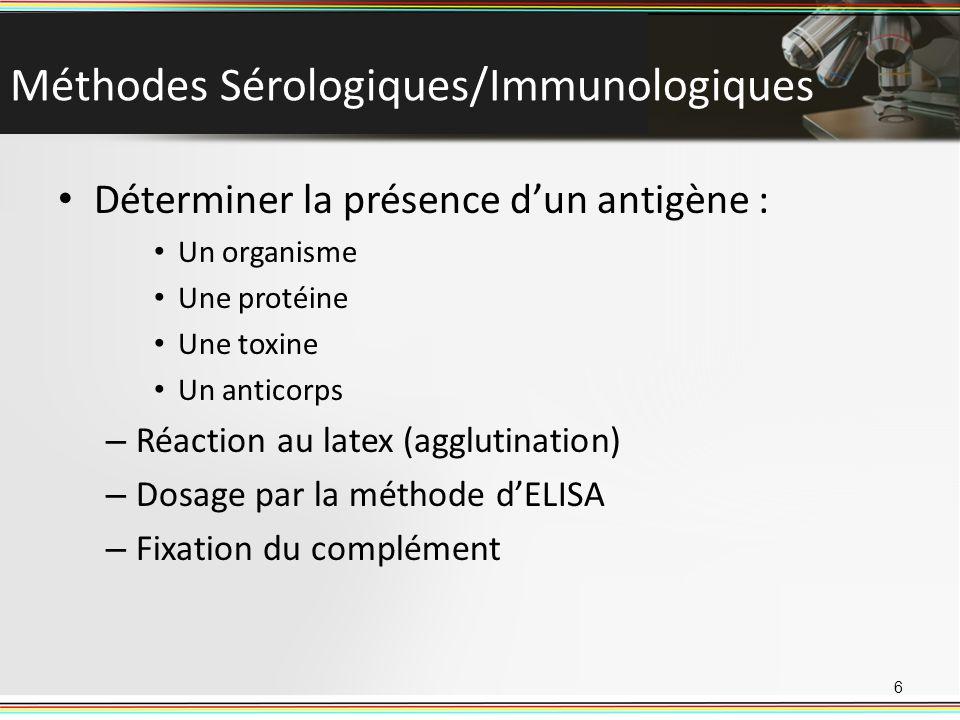 Méthodes Sérologiques/Immunologiques Déterminer la présence dun antigène : Un organisme Une protéine Une toxine Un anticorps – Réaction au latex (aggl